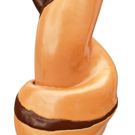 caramel sauce: close-up view of flowing caramel chocolate ice cream twirl