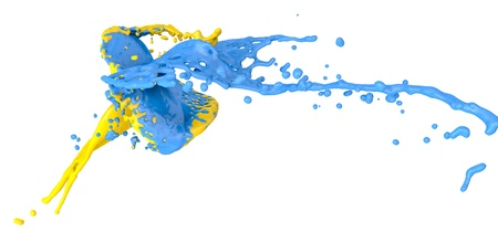blue and yellow color splashes collide - isolated on white Stock Photo