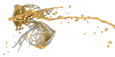 collide: gold and silver splashes collide - isolated on white Stock Photo