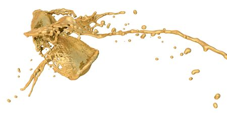 collide: golden splashes collide - isolated on white