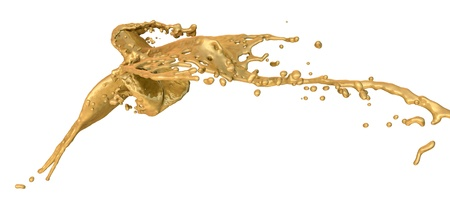 liquid gold: golden paint splashes collide - isolated on white