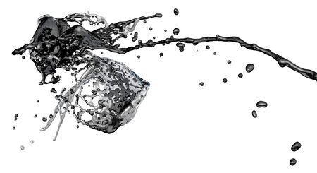 collide: black and silver color splashes collide - isolated on white