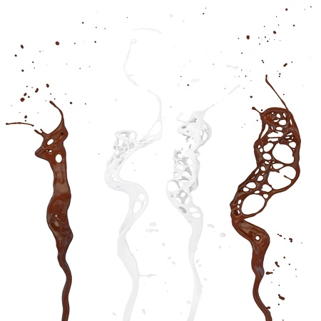 chocolate and milk splash isolated on white photo