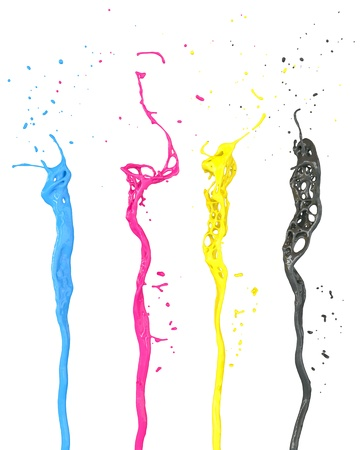 abstract cmyk paint splash isolated on white