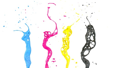 cmyk abstract: abstract cmyk splashes isolated on white Stock Photo
