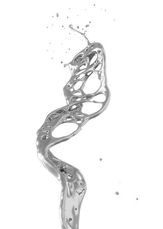abstract silver splash isolated on white 写真素材