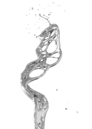 abstract silver splash isolated on white Standard-Bild