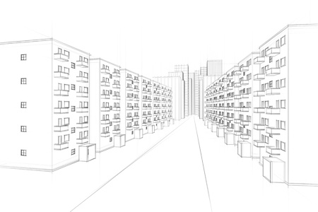 architectural drawing: sketch of an urban residential street Stock Photo