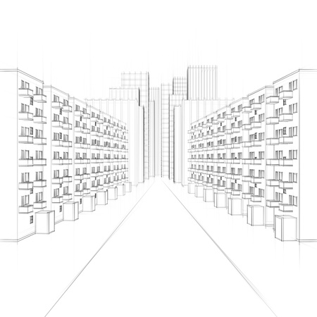 drawing of an urban street with apartments and skyscrapers photo