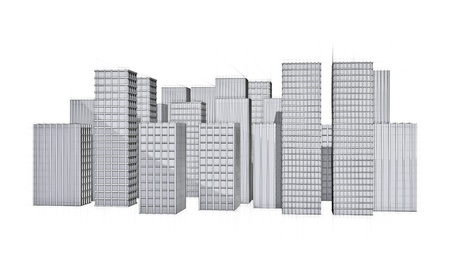 Architecture Drawing Of Big City With Skyscraper Stock Photo