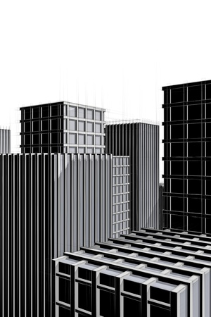 Dark Architecture Drawing Of City Full With Skyscraper Stock Photo Picture And Royalty Free Image 18148276