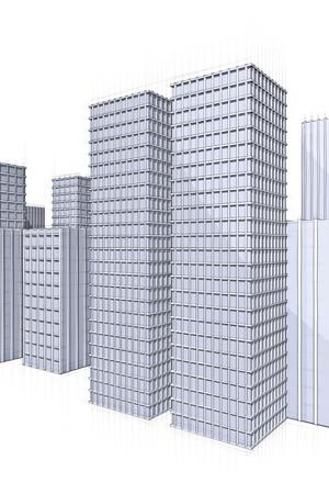 architecture sketch of skyscraper in big city Stock Photo - 18148265