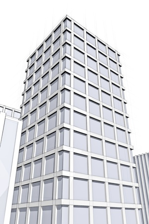 drawing of modern office block in big city Stock Photo - 18148258