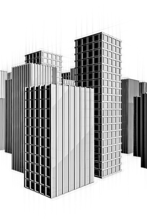 black and white drawing of modern city Stock Photo - 18258450