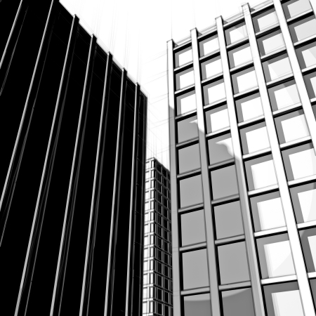 drawing of modern cityscape in black and white Stock Photo - 18258453