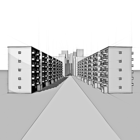 drawing of a residential street in front of the city Stock Photo - 18258446