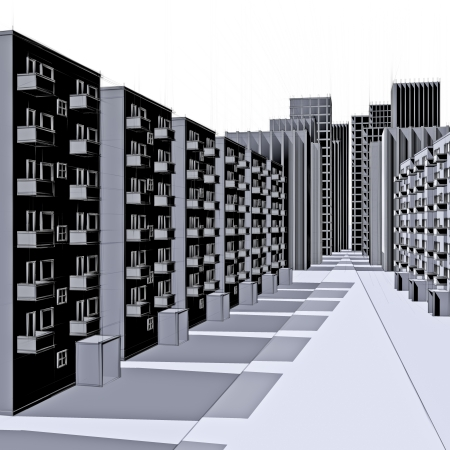 sketch of a apartment buildings in the city Stock Photo - 18258528