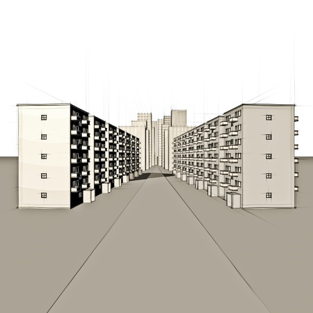 sketch of apartment houses in front of big city Stock Photo - 18258445