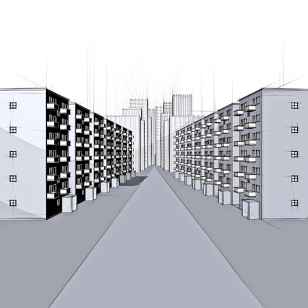 architecture sketch of a residential street and city Stock Photo - 18258452