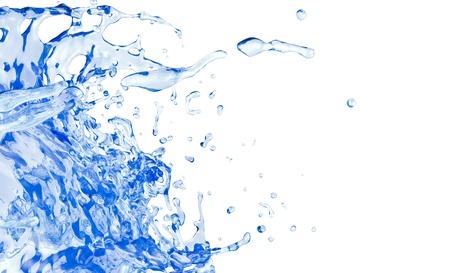blue water splash, isolated on white background Standard-Bild