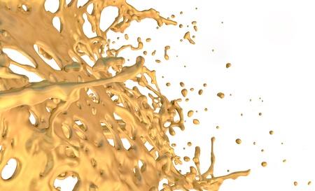 liquid gold splash, isolated on white background