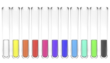 set of test tubes with colorful liquids isolated on white