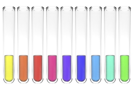 set of test tubes with shiny colorful liquids isolated on white Stock Photo