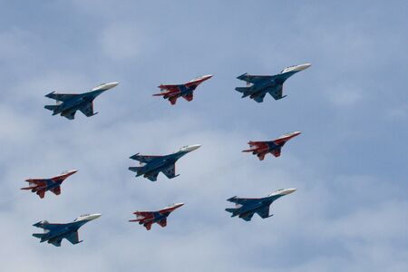 Nine military planes in rows at parade Stock Photo - 4298448