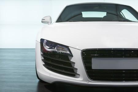 Foreground of white luxury sportcar  exhibition Stock Photo
