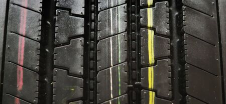 Macro of a black summer tire with color lines Stock Photo - 4625526