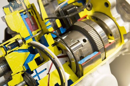 Opened electric motor with transmission close up view Stock Photo