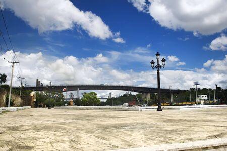 Square before House of Columbus Santo Domingo Dominican republic in summer photo