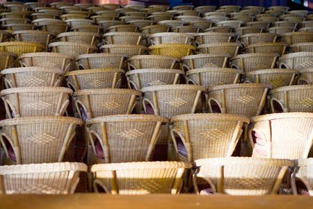 Many chairs on patio in the moning in amphetheater Stock Photo - 5352672
