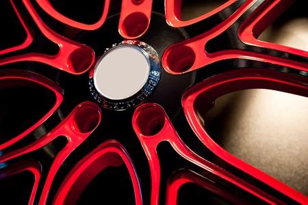 red metallic: Red Metallic tyre disc of a sport car Stock Photo