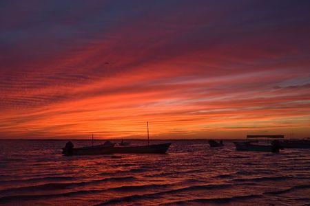 eventide: Altata after sunset, Sinaloa, Mexico Stock Photo