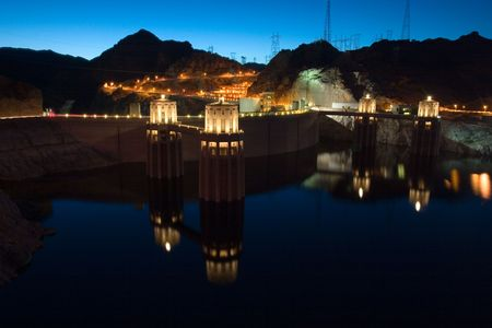 Hoover Dam Night with reflection in water, Nevada Stock Photo - 933936