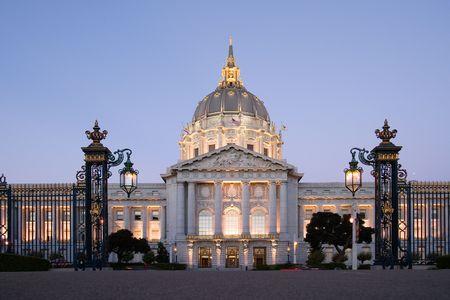 Civic Center at dusk, San Francisco, California Stock Photo