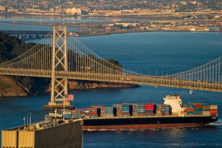 Bay Bridge and Cargo Boat, San Francisco California Stock Photo - 934091