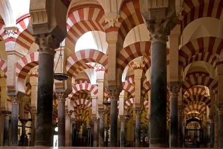 Columns in Mosque,cordobas Mezquita, Spain Editorial