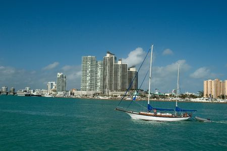waterfront property: Expensive Apartmets and boat in Miami Florida