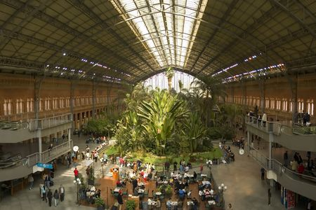 Green house inside Atocha Train Station Stock Photo