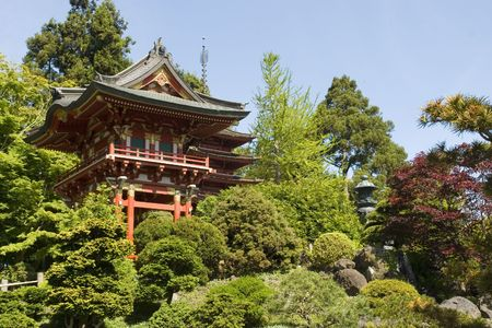 asian house plants: Temple Gate, located near the pagoda, The Japanese Tea Garden in Golden Gate Park is the type of Japanese garden known as a wet walking garden, although it has a Zen garden, or dry garden area as well. Golden Gate Parks Japanese Tea Garden is the oldest