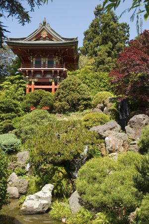 Temple Gate, located near the pagoda, The Japanese Tea Garden in Golden Gate Park is the type of Japanese garden known as a wet walking garden, although it has a Zen garden, or dry garden area as well. Golden Gate Park's Japanese Tea Garden is the oldest Stock Photo - 959867