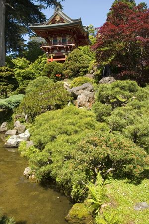 Temple Gate, located near the pagoda, The Japanese Tea Garden in Golden Gate Park is the type of Japanese garden known as a wet walking garden, although it has a Zen garden, or dry garden area as well. Golden Gate Parks Japanese Tea Garden is the oldest
