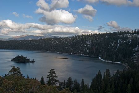 deep powder snow: In 1969, Emerald Bay was designated a National Natural Landmark for its brilliant panorama of mountain-building processes and glacier carved granite