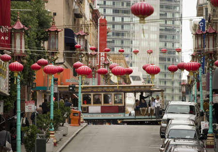 San Francisco Chinatown lamps and cable car