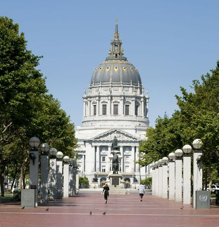 civic: The City Hall of San Francisco California, opened in 1915, in its open space area in the citys Civic Center