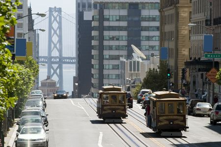 Famous Cable Car in San Francisco California 新聞圖片