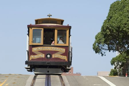 cable car: Famous Cable Car in San Francisco California Editorial