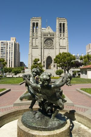nob hill: Fountain and Grace Cathedral in Nob Hill San Francisco Stock Photo